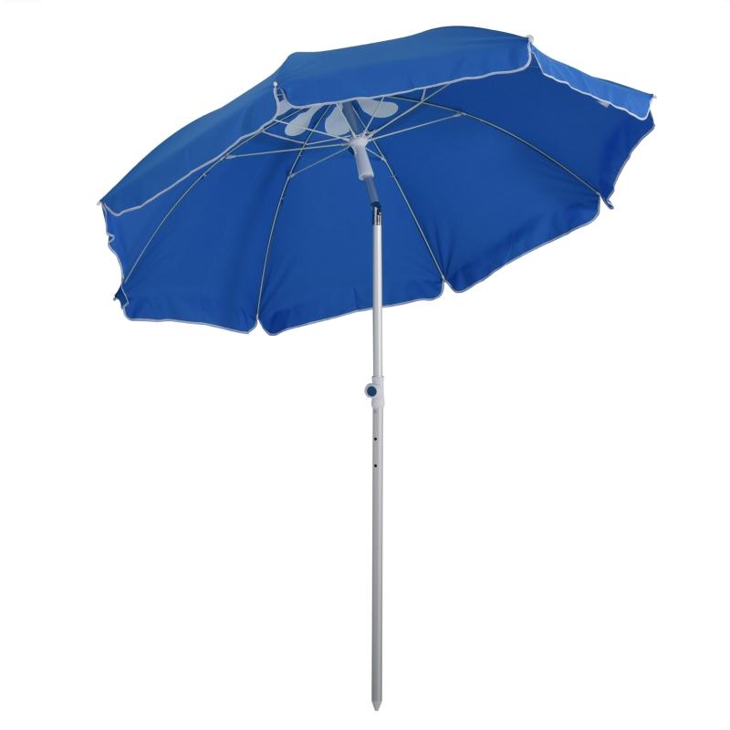 Outsunny® Sonnenschirm Strandschirm Kippfunktion Sonnenschutz verstellbar Blau