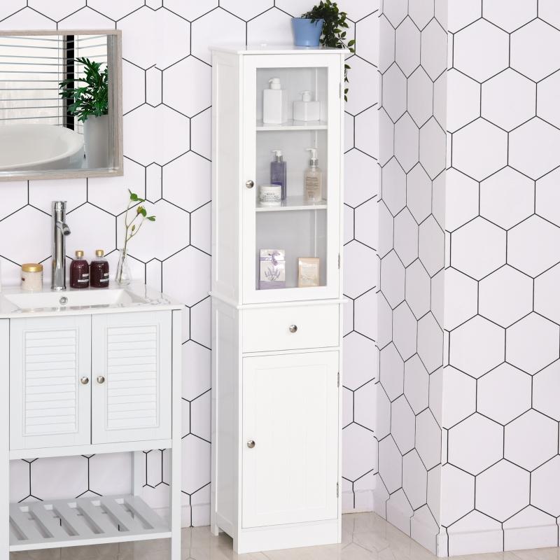 kleankin® Badezimmerschrank Badschrank Vitrine Küchenschrank mit Schublade MDF Acryl Weiß
