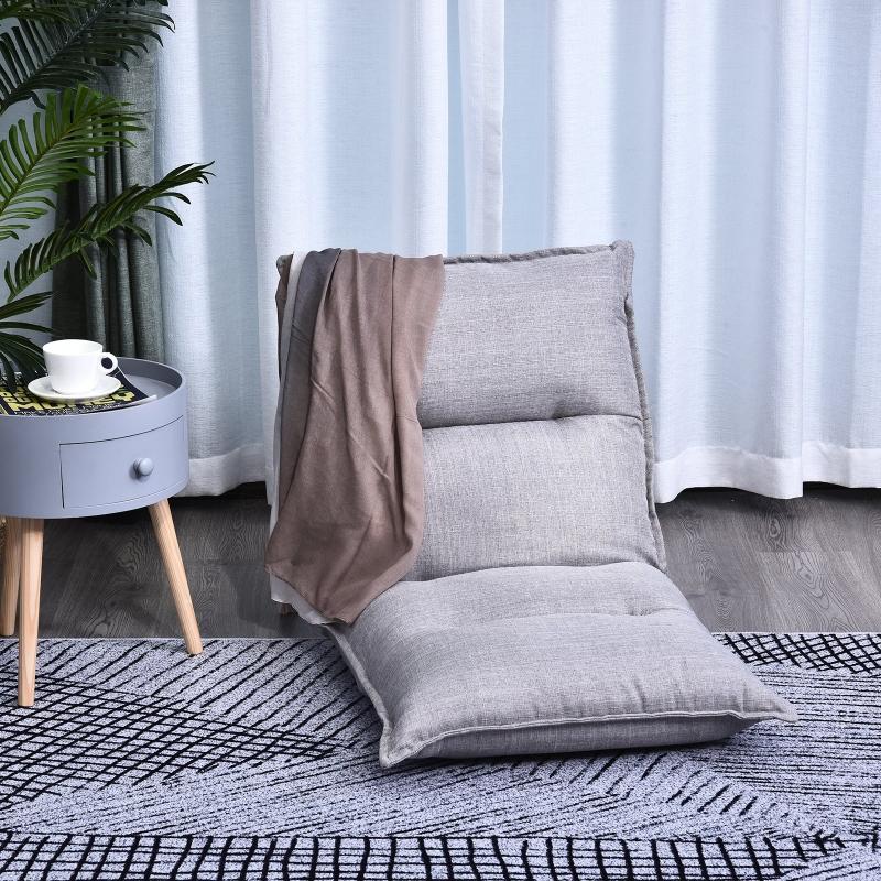 HOMCOM Sitzkissen verstellbare Rückenlehne 55 x 45 x 67 cm Grau