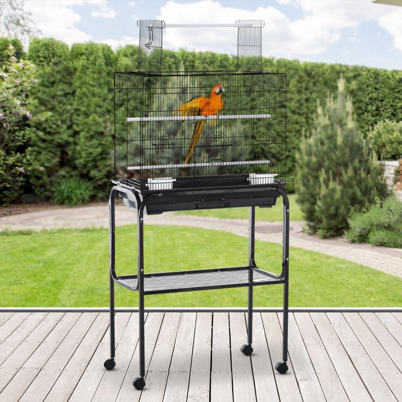 PawHut® Vogelkäfig Vogelhaus Vogelvoliere Metallvoliere für Vögel mit Ständer rollbar