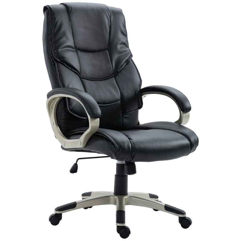 HOMCOM® Drehstuhl Bürosessel Kunstleder Metall Sitzhöhe 45–54 cm Schwarz