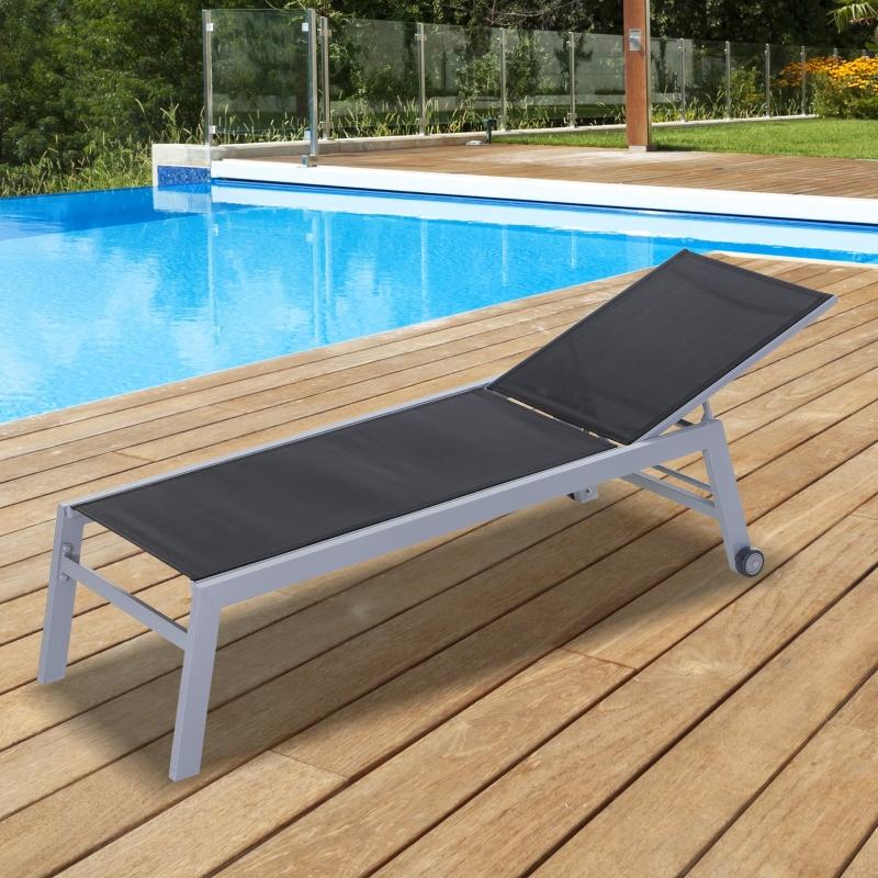 Outsunny® Sonnenliege Gartenliege Relaxliege 5-stufige Rückenlehne Gartenmöbel Alu Schwarz