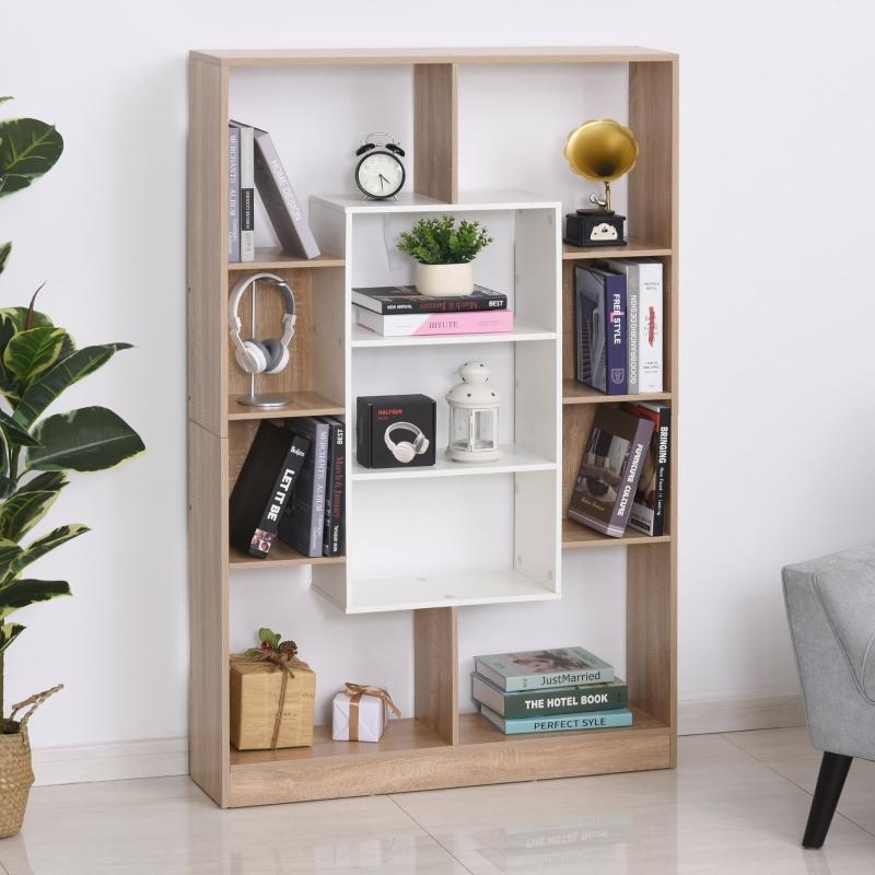 HOMCOM® Bücherregal Standregal Büroregal Aktenregal E1 Spanplatte Natur+Weiß 95x22x150cm