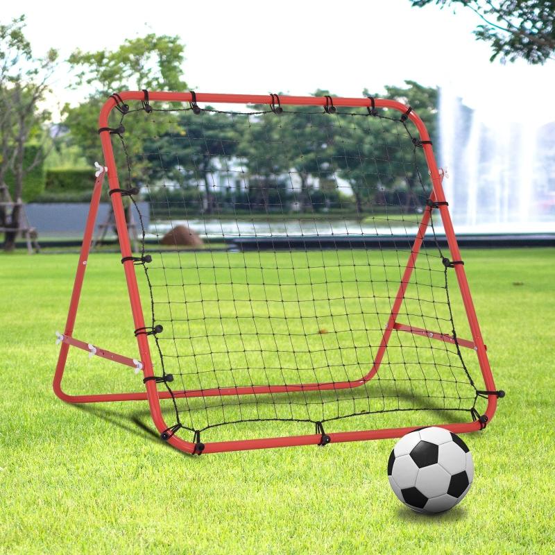 HOMCOM® Fußball Rebounder Kickback Tor Rückprallwand Trainingsnetz Metallrohr Rot