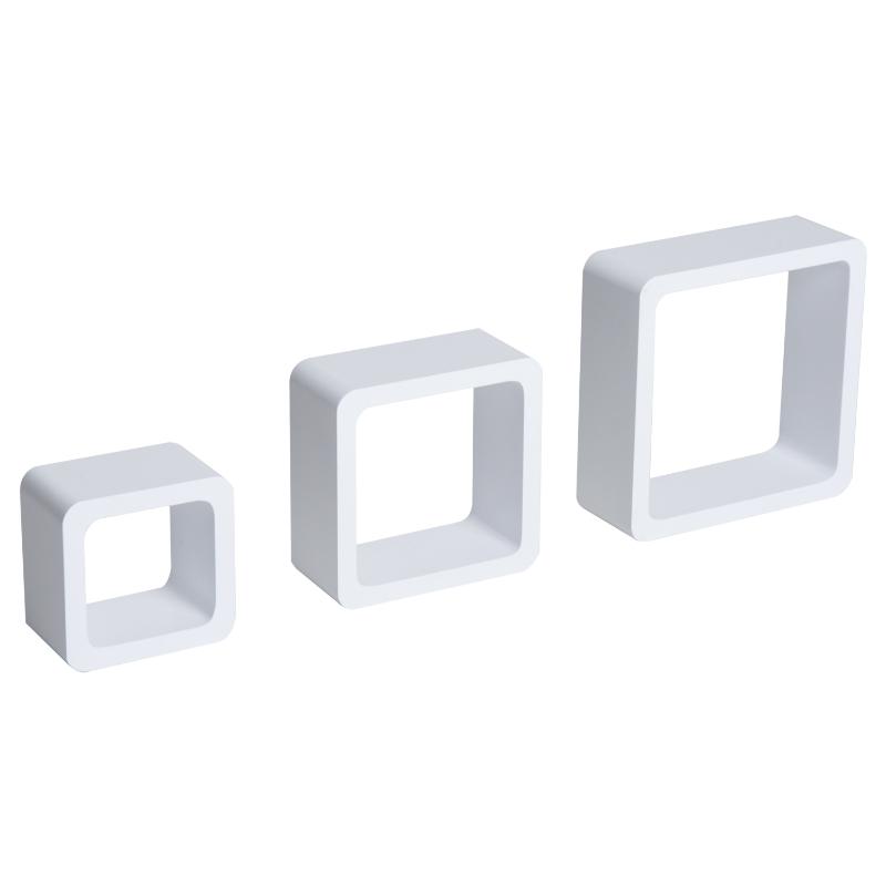 HOMCOM® Wandregal 3er Set Cube Regal Hängeregal Würfel MDF Weiß