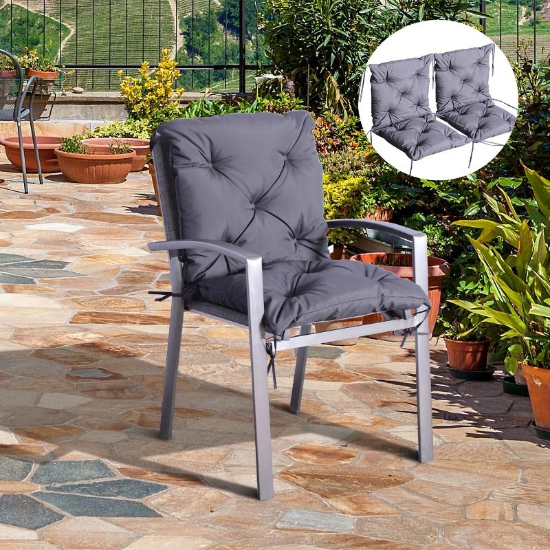 Outsunny® 2 x Niederlehner Auflage   Polster Stuhlauflage   Grau   98 x 50 x 8 cm
