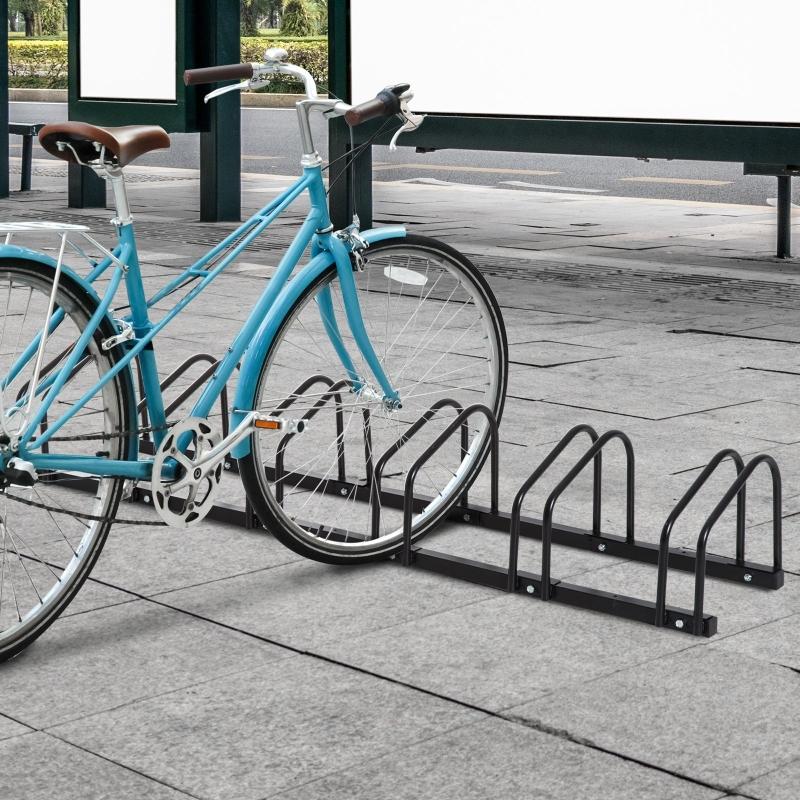 HOMCOM® Fahrradständer Aufstellständer 6 Fahrräder Schwarz