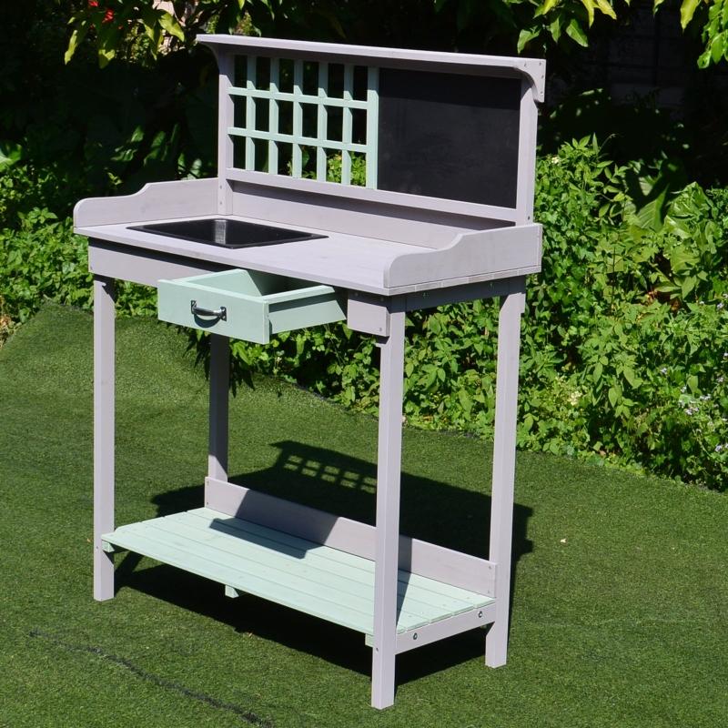 HOMCOM® Pflanztisch Gärtnertisch Gartentisch Blumentisch mit Schublade und Wanne für den Garten Tannenholz 92 x 42,5 x 119,5 cm