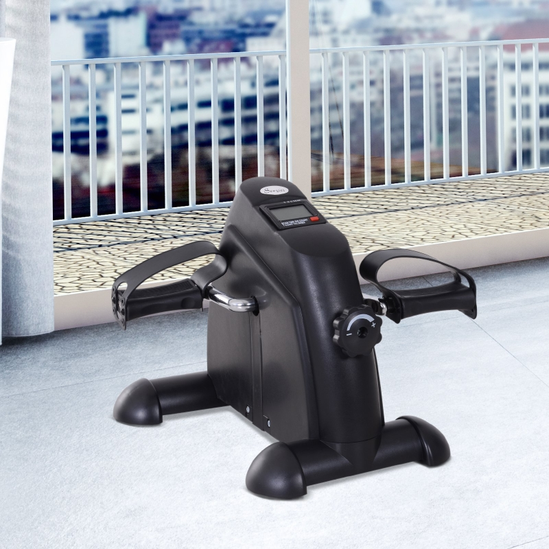 HOMCOM® Heimtrainer Mini Bike Pedaltrainer Trainingsrad Fahrradgerät mit LCD-Display Metall Schwarz 39 x 40 x 31 cm