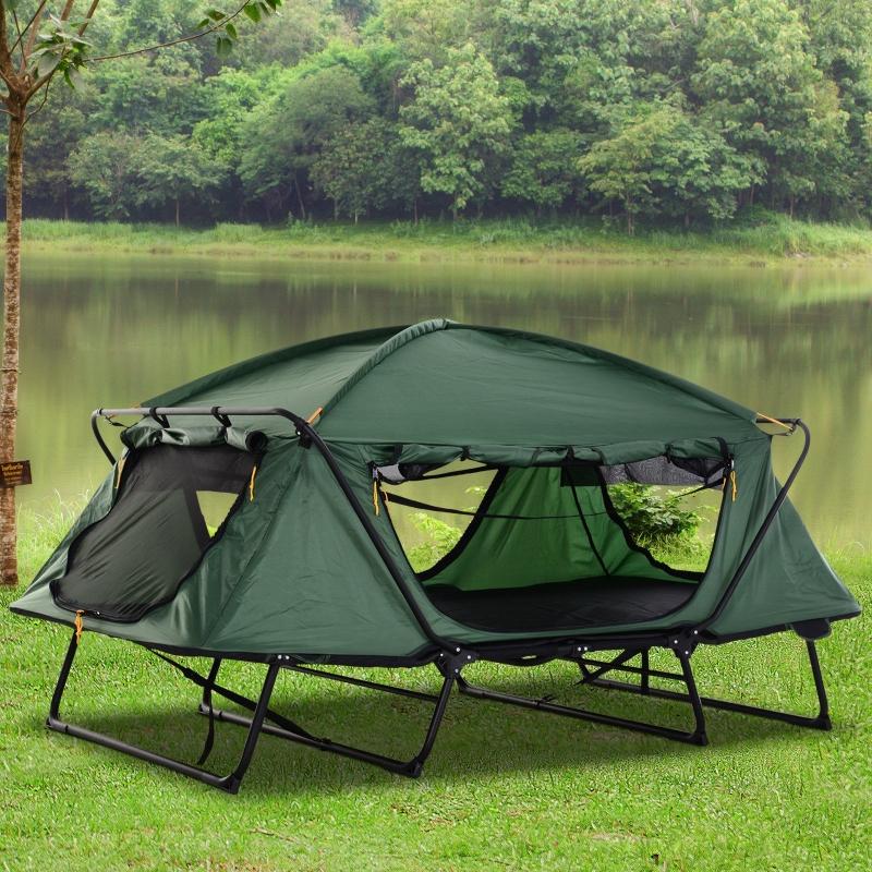 Outsunny® Faltbares Campingzelt 2-Schicht-Zelt Tragetasche Stahl Alu Oxford Grün