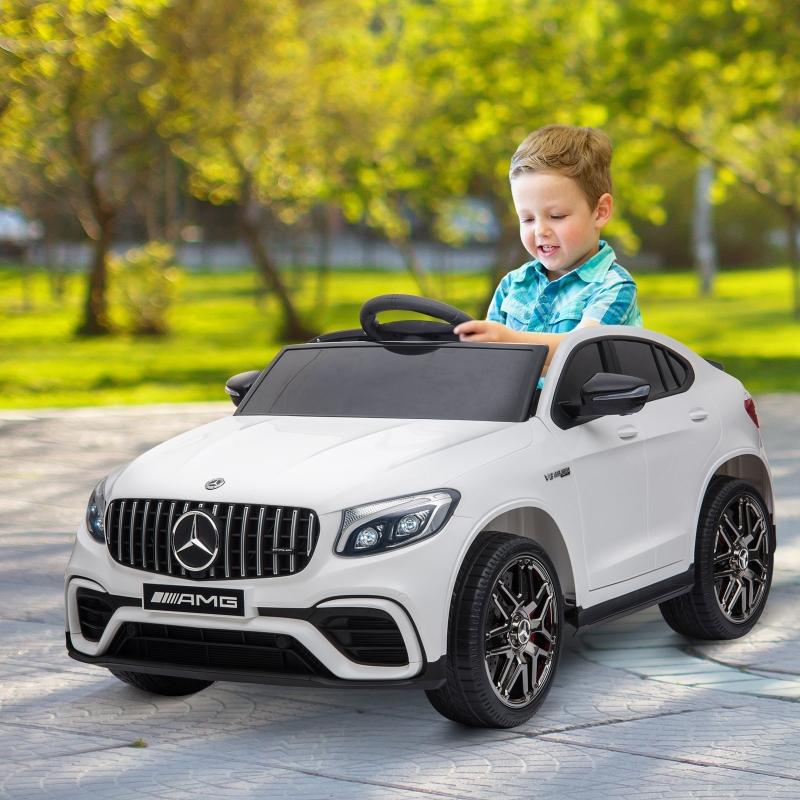 HOMCOM® Mercedes Benz GLC AMG Kinderauto Elektro PP Metall Weiß 115 x 70 x 55 cm
