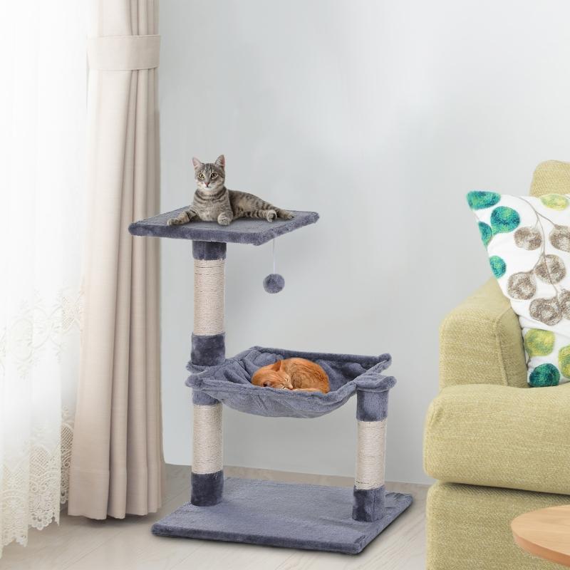 PawHut® Katzenbaum 3-Stock Kratzbaum Katzenbett mit Hängebett Sisalsäule Plüsch Grau