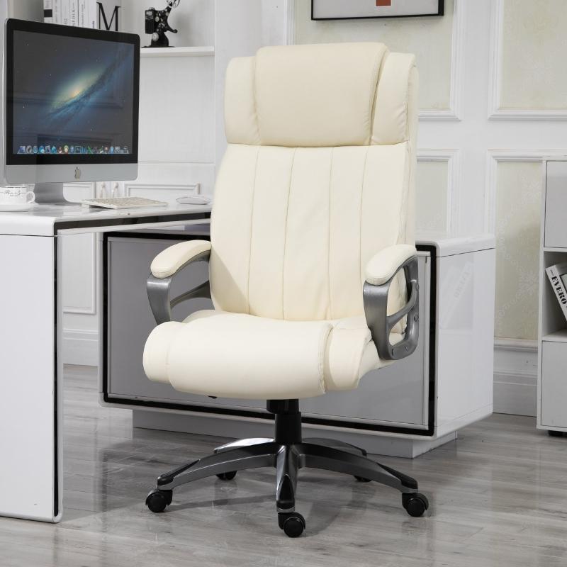 Vinsetto® Massagebürostuhl Drehstuhl höhenverstellbar Chefsessel Massagesessel Cremeweiß