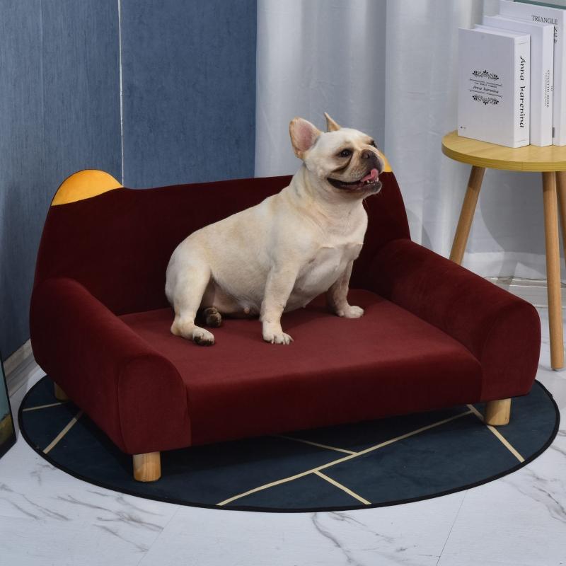 PawHut® Hundesofa mit Tierohren Form Hundebett Katzensofa mit Samtbezug Holzbeinen