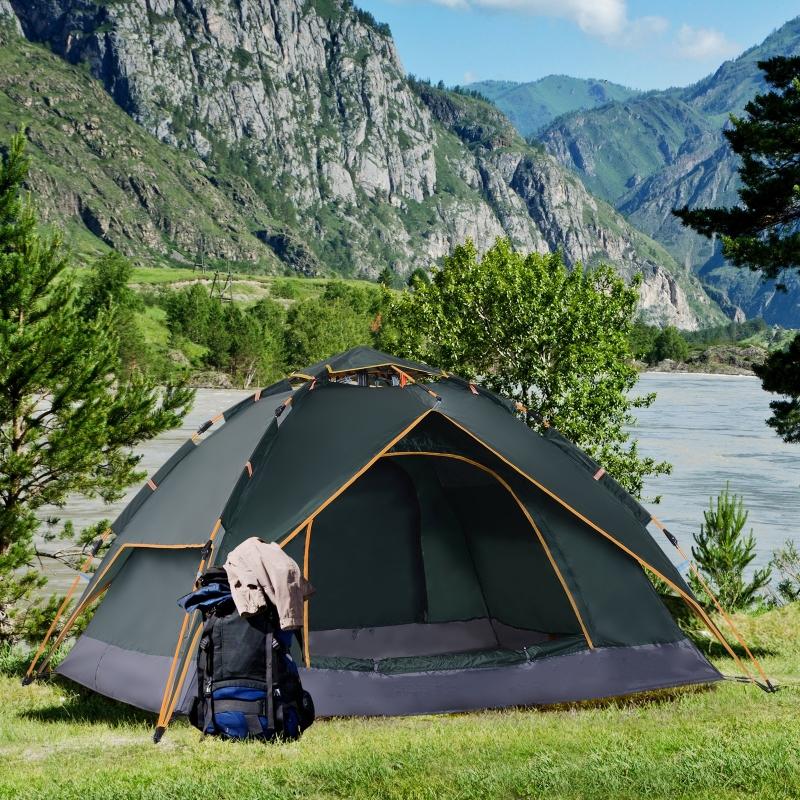 Outsunny® Doppelzelt Campingzelt 2 Türen wasserdicht Tragetasche Dunkelgrün 210 x 210 x 140 cm Quick-Up-Zelt 2 Erwachsene + 1 Kind