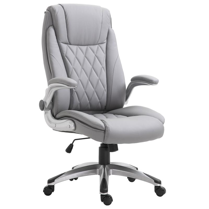 Vinsetto® Chefsessel Bürostuhl Wippfunktion Polster Grau