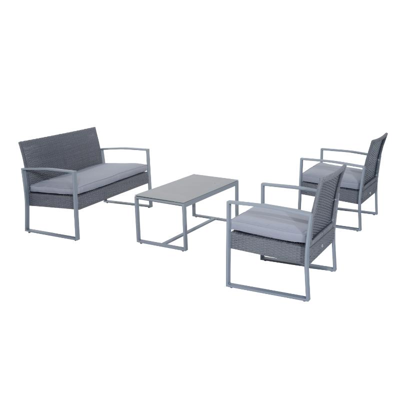 Outsunny® Polyrattan Sitzgarnitur 4 tlg. Sitzgruppe Gartenmöbel Metall modern Grau