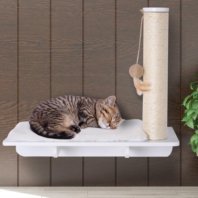 PawHut® Kratzbaum Katzenbaum Katzenliege Katzenregal Wandmontage Plüschauflage MDF Weiß 55 x 30 x 50 cm