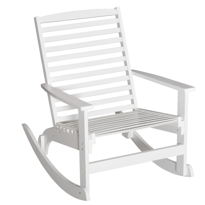 Outsunny® Garten Schaukelstuhl Relaxsessel Gartenstuhl Bambus Sperrholz Weiß