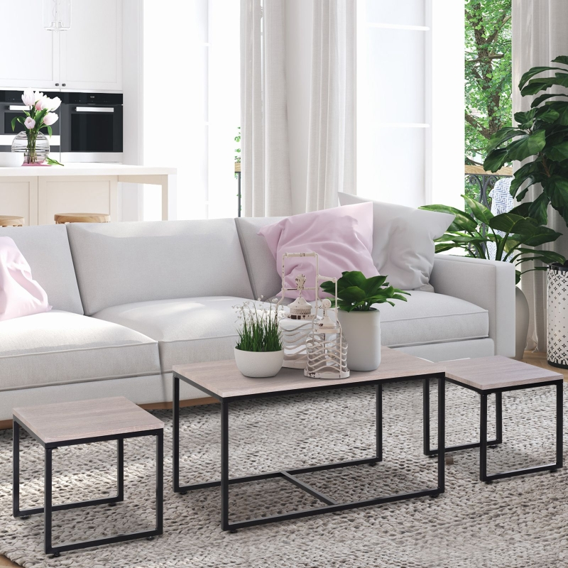HOMCOM® 3er Set Couchtisch Satztisch Beistelltisch Kaffeetisch Tisch-Set Industrial-Look Metallfuß MDF Natur Schwarz 90 x 45 x 50 cm/40 x 40 x 40 cm