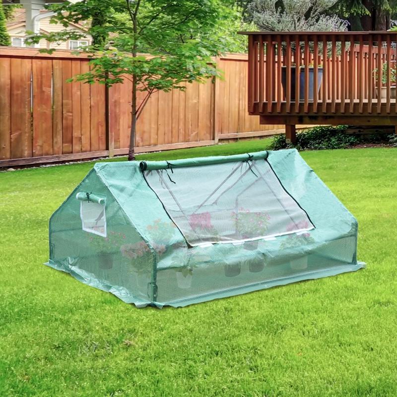 Outsunny® Gewächshaus Treibhaus mit 2 Türen Pflanzenaufzucht UV-Schutz Stahl PE