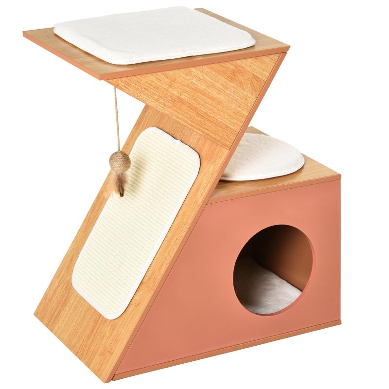 PawHut Katzenhaus mit Spielsisal und Spielbällen, MDF, Sisal, Orange
