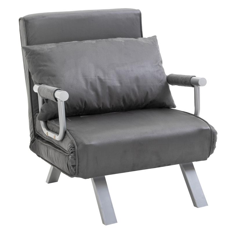HOMCOM® Relaxsessel Schlafsessel Gästebett mit Armlehne 3-in-1 Klappeinzelbett klappbar einstellbare Rückenlehne Chaiselongue Grau L65 x B69 x H80 cm