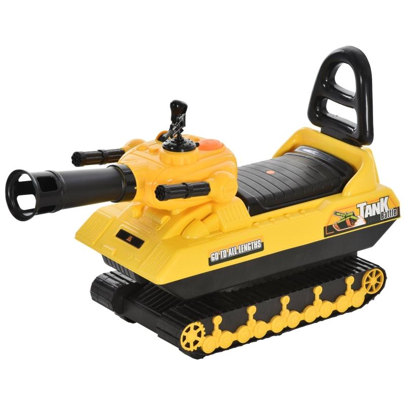 HOMCOM® Spielzeugauto 3-in-1 Kinderauto Rutscherauto Panzer mit Stauraum Bälle Gelb