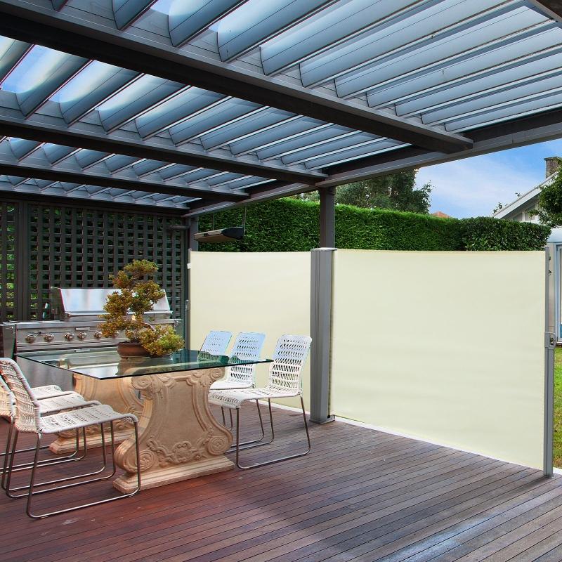 Outsunny® Doppel-Seitenmarkise Sichtschutz Seitenrollo Windschutz Polyester Creme L6xH1,8m