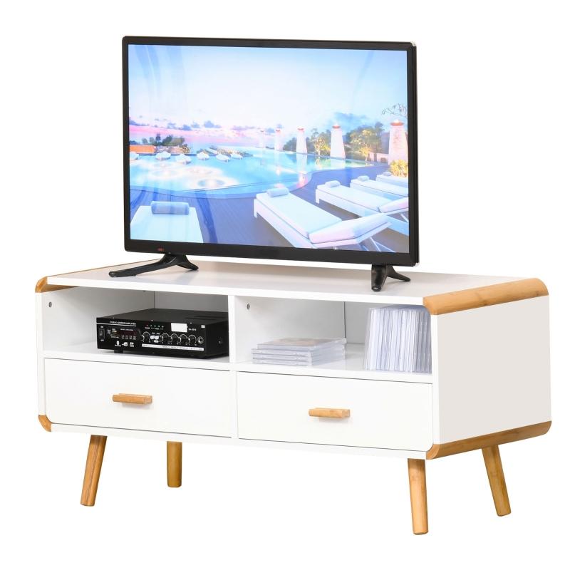 HOMCOM® TV Schrank TV-Kommode mit 2 Schubladen und Offene Regale Bambus MDF Weiß+Natur