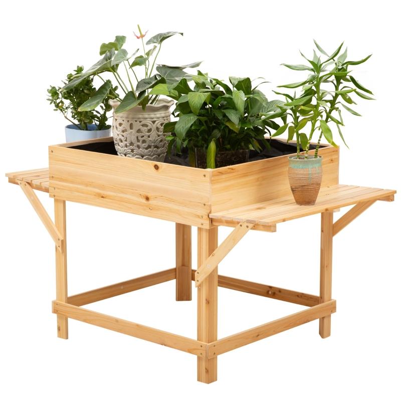 Outsunny® Hochbeet aus Holz Pflanzkasten für Garten mit Ablage Blumenkasten Natur