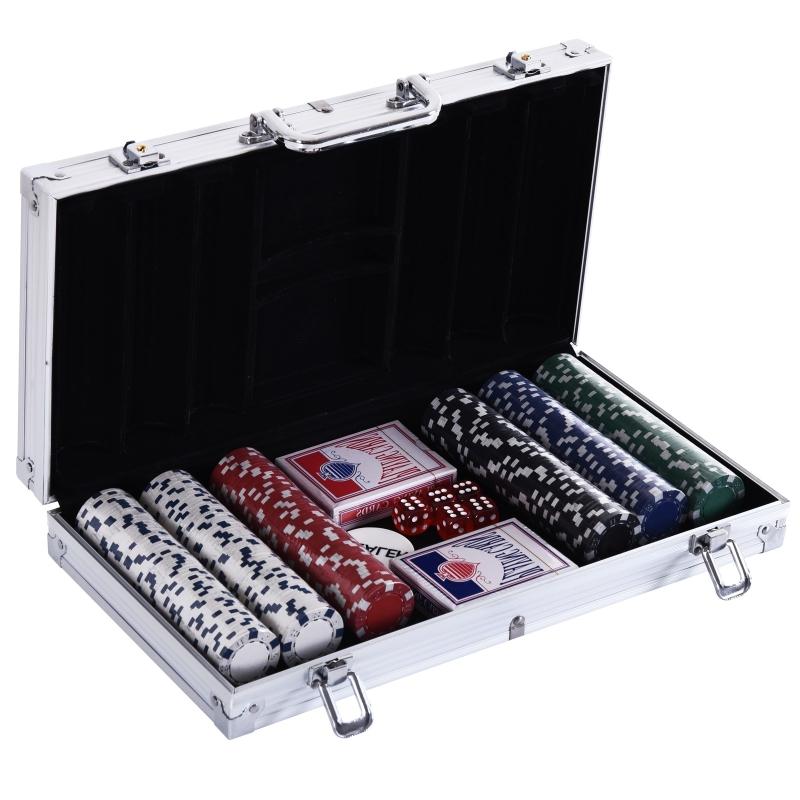 HOMCOM® Pokerkoffer Pokerset 300 Pokerchips 2 x Kartenspiel 5 x Würfel 1 x Alukoffer 5 Farben 38 x 20,5 x 6,5 cm 11,5 g/Chip
