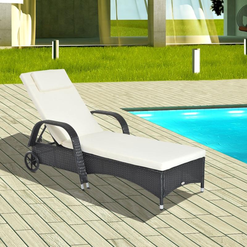 Outsunny® Mobile Gartenliege schwarz Rattanliege Polyrattan