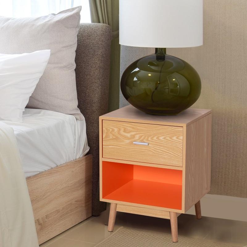 HOMCOM® Nachttisch  Nachtkommode Konsole Beistelltisch mit Schublade Holz 48 x 40 x 61,5 cm