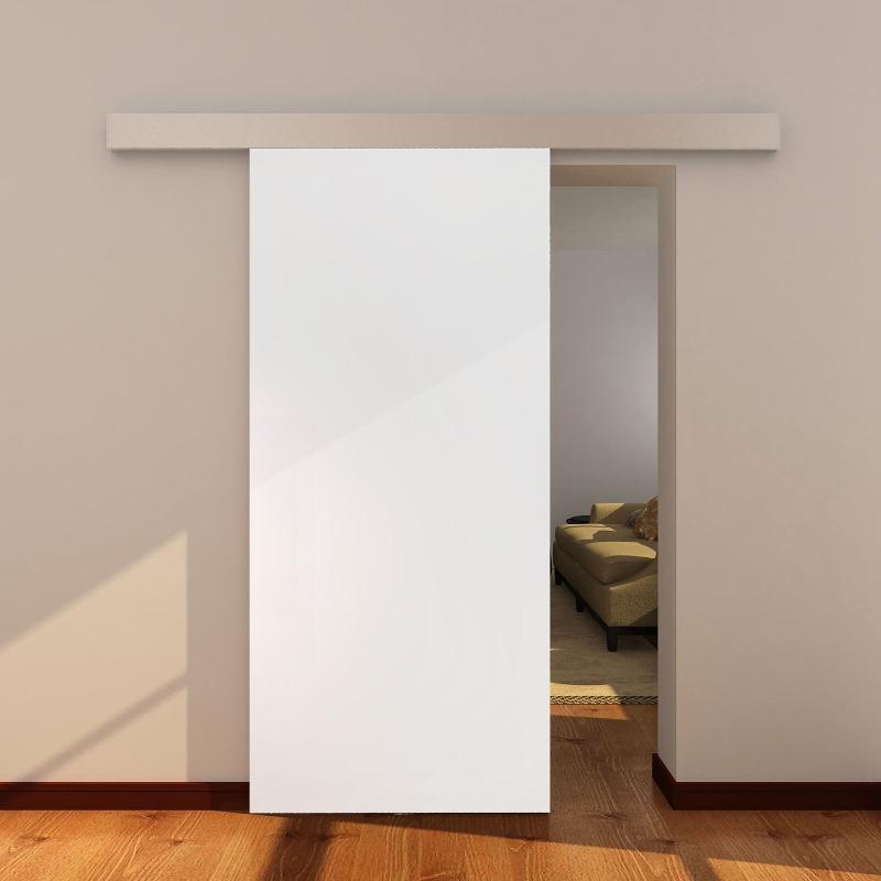 HOMCOM® Raumteiler Weiß und Natur mit Schiebefunktion | Aluminium, MDF | 88 x 203,5 cm