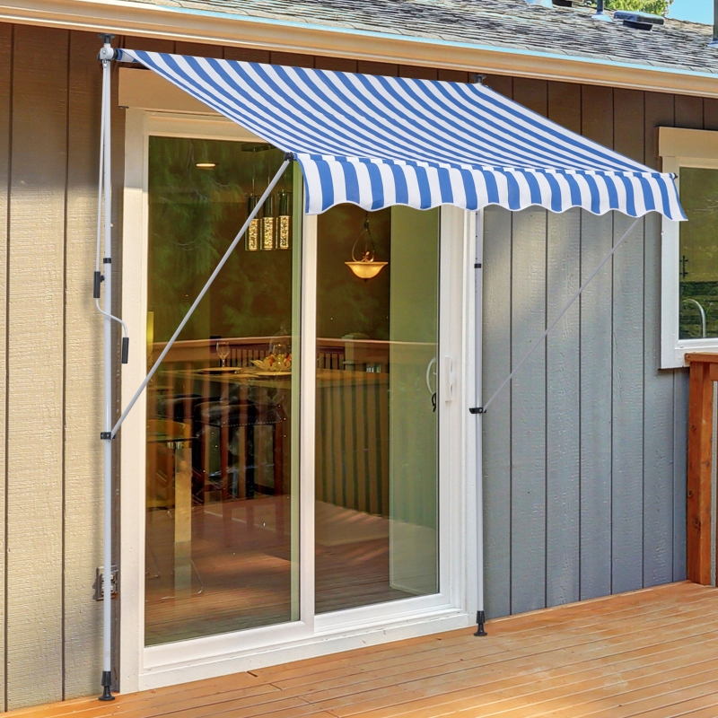 Outsunny® Markise Klemmmarkise Faltarm Sonnenschutz Handkurbel Balkon Alu 2x1,5m Blau
