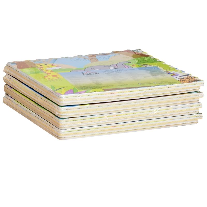 HOMCOM® Puzzlematte Kinderteppich klappbar EVA Kinder Süßigkeiten Muster 61,5x61,5cm