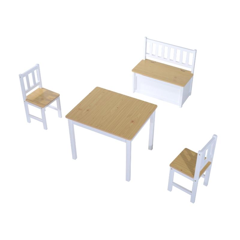 HOMCOM® 4-tlg. Kindersitzgruppe 1 x Kindertisch 2 x Kinderstuhl 1 x Kinderbank Holz