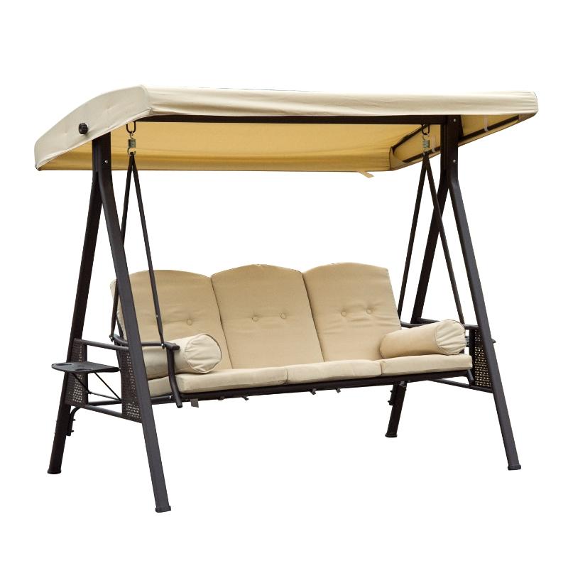 Outsunny® Hollywoodschaukel 3-Sitzer Gartenschaukel mit Sonnendach + Kissen Beige