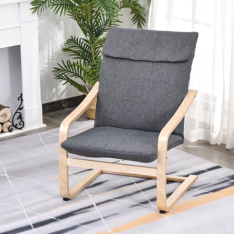 HOMCOM® Relaxsessel Ruhesessel Armlehnensessel Leinenbezug Holzgestell Grau