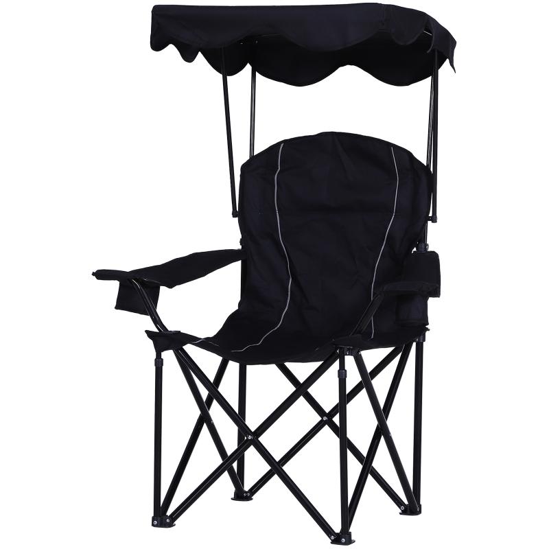 Outsunny® Anglerstuhl Klappstuhl Campingstuhl mit Überdachung Getränkehalter Oxford Schwarz