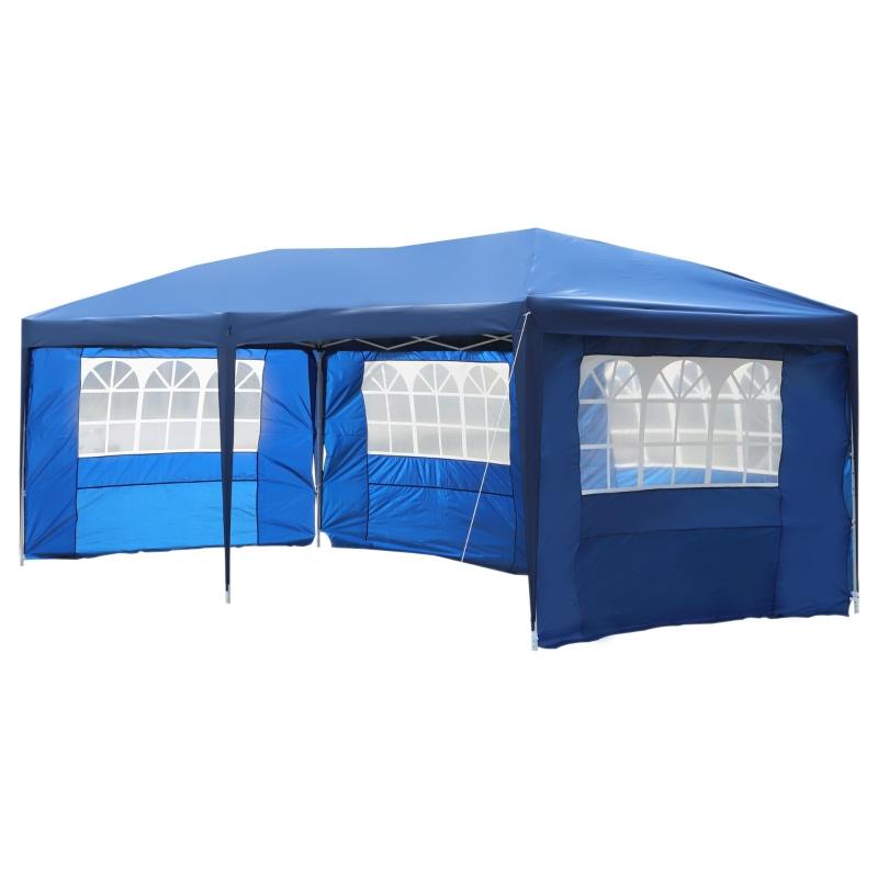 Outsunny® 3x6m Faltpavillon Partyzelt Gartenzelt inkl. 4 Seitenteile Blau