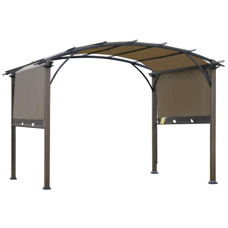Outsunny® Pavillon Pergola mit einstellbarem Stoffdach UV+50 Wasserfest Texteline Stahl