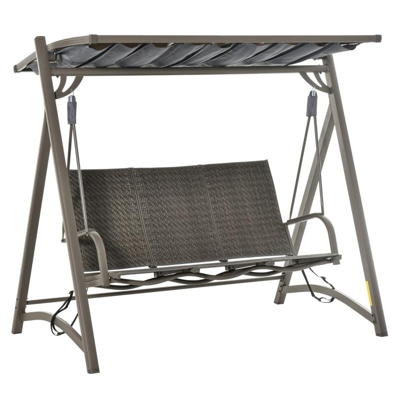 Outsunny® 3-Sitzer Hollywoodschaukel Gartenschaukel mit verstellbares Sonnendach Alu Braun