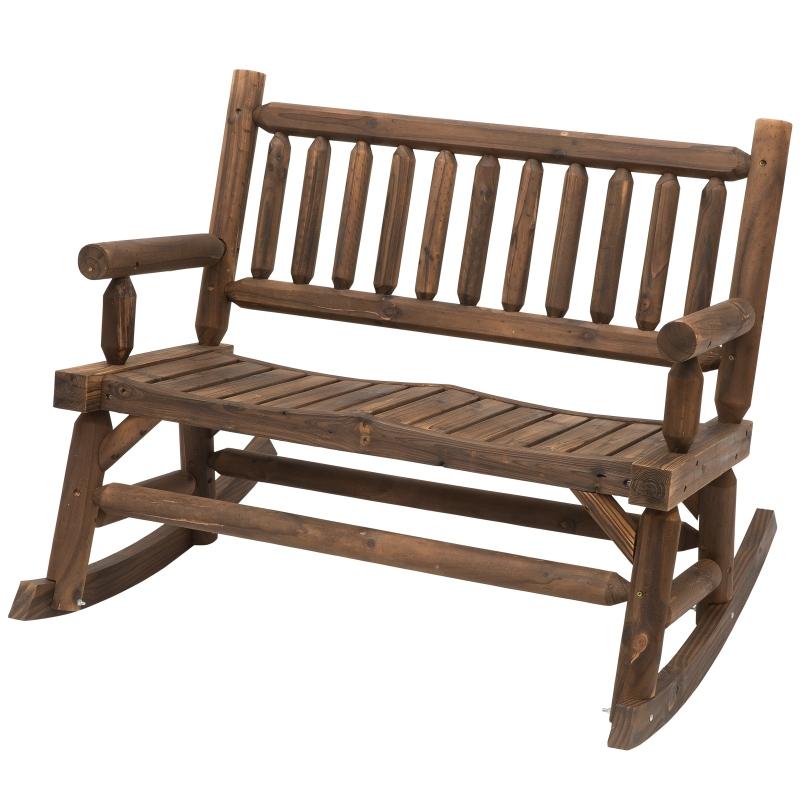 Outsunny® Schaukelstuhl mit Armlehne Gartenstuhl Schwingsessel Massivholz Dunkelbraun