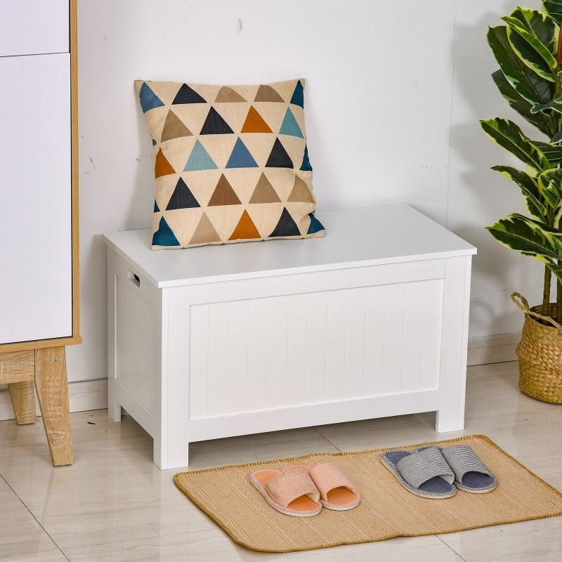 HOMCOM® Aufbewahrungsbox Truhe Sitzbank Auflagenkiste MDF-Platte Weiß 81x40x46cm