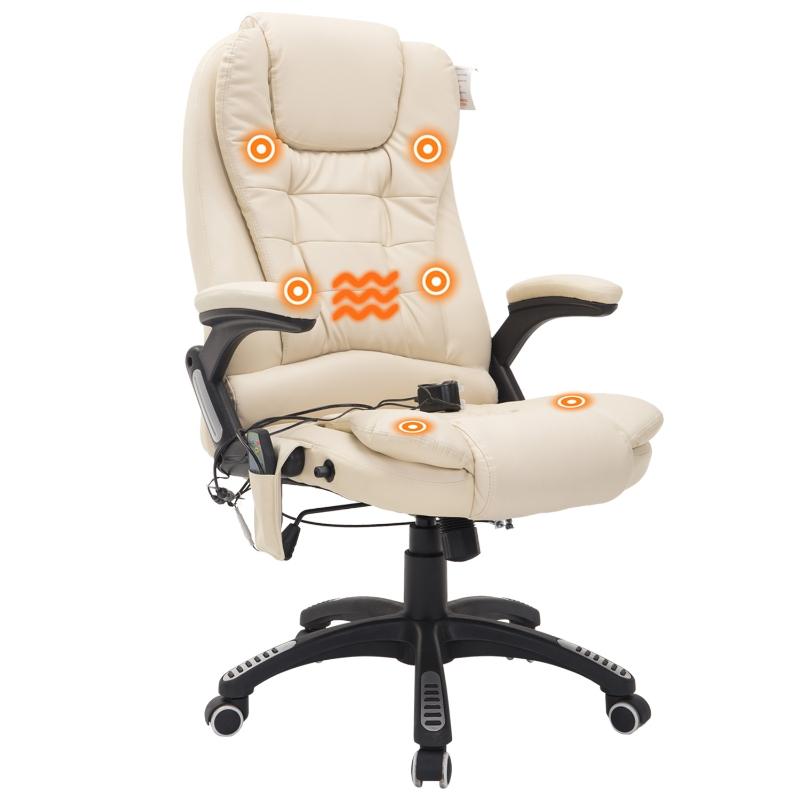 HOMCOM® Drehstuhl Büro Massage- und Wärmefunktion 62 x 68 x 111–121 cm Creme