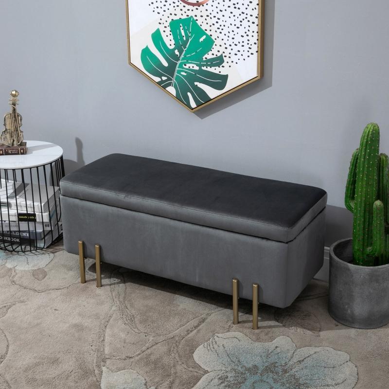 HOMCOM® Hocker Eleganter Sitzhocker mit Stauraum Polsterhocker Dunkelgrau