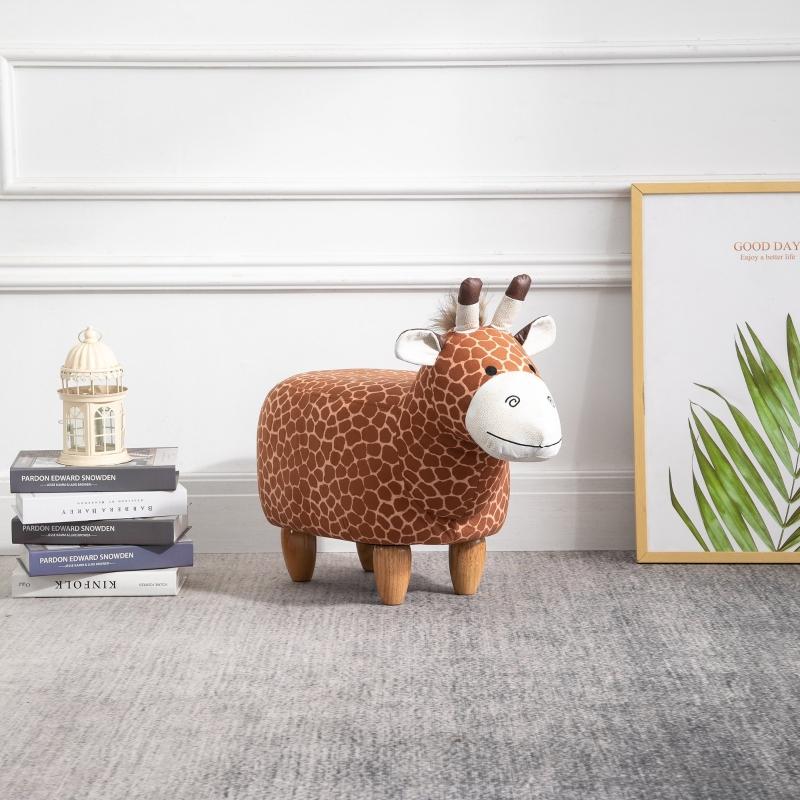 HOMCOM® Hocker für Kinder Kinderhocker Sitzhocker Polsterhocker im Tier-Design Giraffe