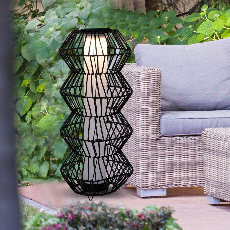 Outsunny LED Solarleuchte, Rattan Garten-Stehleuchte, Kaffee